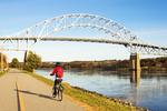 Biking on the Cape Cod Canal, Bourne Bridge, Bourne, Massachusetts
