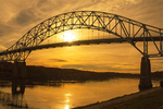 Sagamore Bridge at Sunset, Cape Cod Canal, Arch Bridge with Suspended Deck, Sagamore, Massachusetts