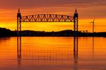 Cape Cod Canal Railroad Bridge at Sunset, Buzzards Bay Railroad Bridge, Cape Cod Canal, Vertical Lift Bridge, Bourne, Massachusetts
