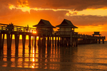 Florida Sunset at Naples Beach Pier, Naples, Florida