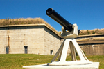 Cannon in Front of Fort Warren, Civil War Fort, George's Island, Boston Harbor Islands National Recreation Area, Boston, Massachusetts