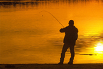 Fisherman Silhouetted at Walden Pond, Concord, Massachusetts