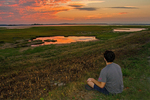 Person Meditating at Sunset, Parker River National Wildlife Refuge, Plum Island, Newburyport, Massachusetts