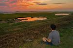 Person Meditating at Sunset, Parker River National Wildlife Refuge, Plum Island, Newburyport, Massachusetts