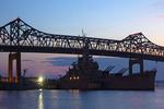 Charles M. Braga Jr. Memorial Bridge at Night, Braga Bridge, Braga Memorial Bridge, Connects Somerset and Fall River, Massachusetts