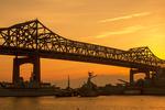 Charles M. Braga Jr. Memorial Bridge at Sunset, Braga Bridge, Braga Memorial Bridge, Connects Somerset and Fall River, Massachusetts