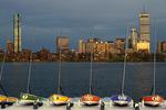 Boston Skyline at Night and the Charles River, Sailboats on Dock, Boston, Massachusetts