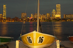 Boston Skyline at Night and the Charles River, Sailboats on Dock, Boston, Massachusetts