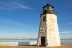 Goat Island Light, Newport Harbor Light, Claiborne Pell Newport Bridge, Narragansett Bay, Newport, Rhode Island
