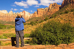 Photographer at West Temple and Towers of the Virgin, Zion National Park, Utah