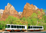 Shuttle Bus at Court of the Patriarchs Erosional Formation, 3 Patriarchs Erosional Formation, Zion National Park, Utah