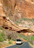 Shuttle Bus on Park Road, Zion National Park, Utah