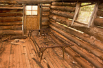 Interior of Gustive Larson Cabin, Middle Fork of Taylor Creek Trail, Kolob Canyons section, Zion National Park, Utah
