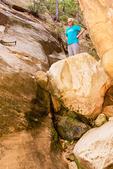 Hiker at Hidden Canyon Entrance, Zion National Park, Utah