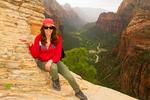 Hiker on Angels Landing Trail, Zion National Park, Utah
