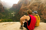 Couple Sitting on Angels Landing Viewing Zion Canyon, Angels Landing Trail, Zion National Park, Utah