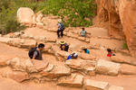 Hikers on Walter's Wiggles Switchbacks, Angels Landing Trail, Zion National Park, Utah