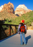 Hiker on Pa'rus Trail, Zion National Park, Utah
