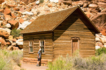 Person at Fruita One-Room Wooden School, Capitol Reef National Park, Utah