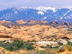 Petrified Sand Dunes and the La Sal Mountains, Arches National Park, Colorado Plateau, Moab, Utah