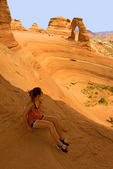 Person Viewing Delicate Arch, Arches National Park, Colorado Plateau, Moab, Utah