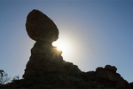 Balanced Rock Formation Silhouette, Arches National Park, Colorado Plateau, Moab, Utah