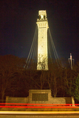 Car Streaks and the Pilgrim Monument and Museum at Night, Cape Cod, Provincetown, Massachusetts