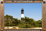 Fire Island Light Framed in Sign, 19th Century Lighthouse, Fire Island National Seashore, Long Island, New York