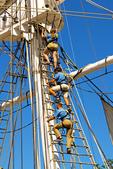 Sailors Climbing the Rigging, Charles Morgan Whaling Ship, Mystic Seaport, Museum of America and the Sea, Mystic, Connecticut