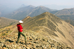 Hiker on Avalanche Peak Summit, Absaroka Range, Yellowstone National Park, Wyoming