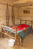 Bed and Snow Shoes, Bill Menor's House, Menors Ferry Historic District, Grand Teton National Park, Wyoming