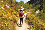 Hiker on the Cascade Canyon Trail in Autumn, Grand Teton National Park, Wyoming