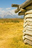 Cunningham Cabin, Mount Moran, Double-Pen Log Cabin, Appalachian Building Form, Teton Mountain Range, Grand Teton National Park, Wyoming
