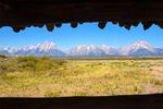 Teton Range Framed in Cunningham Cabin Window, Teton Mountain Range, Grand Teton National Park, Wyoming