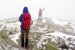Hikers at Summit of Camels Hump in Winter, Camel's Hump State Park, Green Mountains, Huntington, Vermont