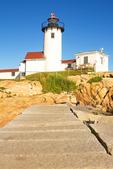 Eastern Point Light and Granite Breakwater, New England Lighthouse, Cape Ann, Gloucester, Massachusetts