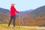 Hiker on Mt. Willard Summit Viewing Crawford Notch in Autumn, U-Shaped Glacial Valley, Crawford Notch State Park, White Mountains, New Hampshire