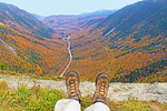 Hiking Boots on Mt. Willard Summit, U-Shaped Glacial Valley, Crawford Notch State Park, White Mountains, New Hampshire