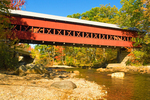 Swift River Covered Bridge in Autumn, Historic 19th Century Pedestrian Footbridge, White Mountains, Conway, New Hampshire