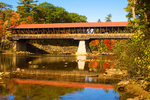 Saco River Covered Bridge in Autumn, Historic, White Mountains, Conway, New Hampshire