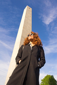 Woman at Bunker Hill Monument, Freedom Trail, Boston National Historical Park, Charlestown, Massachusetts