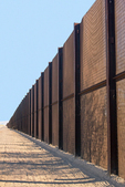 Mexico-United States barrier, Mexican Border Wall, Organ Pipe Cactus National Monument, Sonoran Desert, Arizona