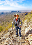 Hiker on Trail, Picacho Peak State Park, Arizona