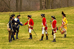 British Redcoats and Colonial Minuteman at Surrender Ceremony, American Revolutionary War Reenactors