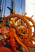 Steering Wheel on Spar Deck, USS Constitution, Old Ironsides, United States Navy, Freedom Trail, Boston National Historial Park, Charlestown Navy Yard, Boston, Massachusetts