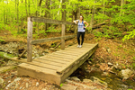 Hiker on Bridge, Elmore State Park, Elmore, Vermont