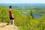 Hiker on Ledge, Elmore State Park, Elmore, Vermont