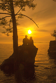 Couple on Rock at Sunset, Lone Rock Point Preserve, Lake Champlain, Burlington, Vermont