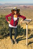 Hiker on Summit of Wasson Peak, Sonoran Desert, Saguaro National Park, Arizona