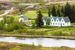 Thingvellir Church and Prime Ministers' Summer House, Thingvallakikja, Thingvellir National Park, Golden Circle, Iceland